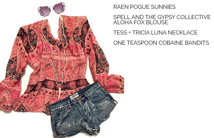 Spell and the Gypsy Collective Aloha Fox Top, One Teaspoon Cobaine Bandits, Raen Sunglasses