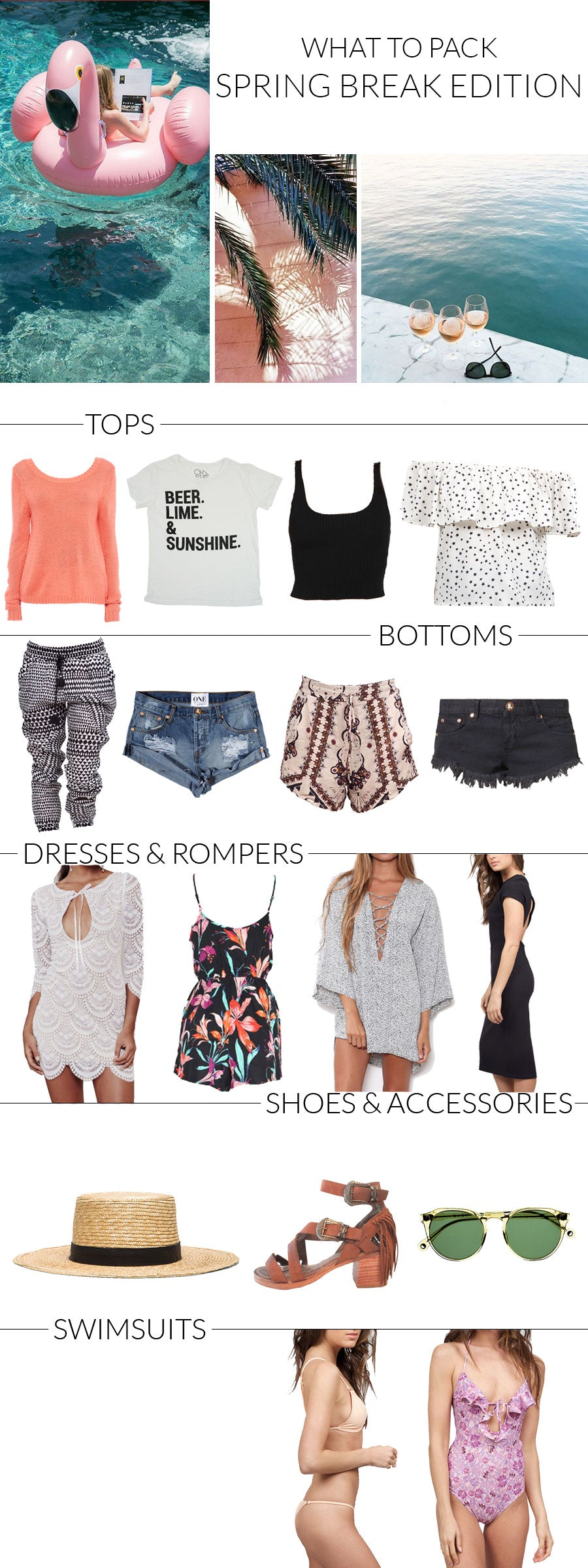 Spring Break Packing List, Boho Spring Break, What To Pack Mexico