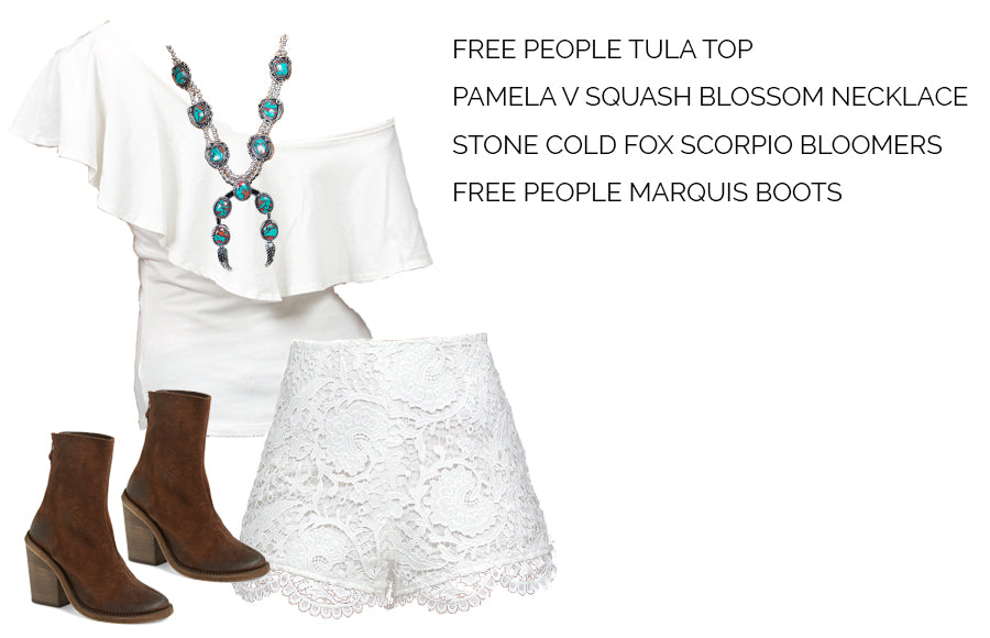 Free People Tula Top, Turquoise Squash Blossom Necklace, Free People Marquis Boot, Stone Cold Fox Scorpio Bloomers