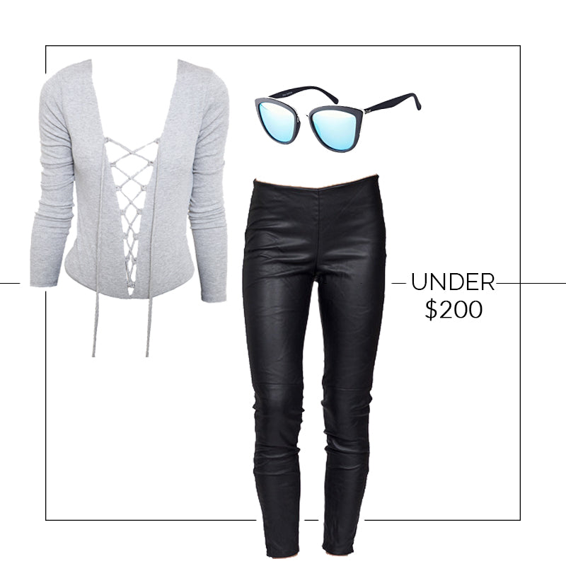 Outfit Under $200, Free People Vegan Legging, Quay My Girl Sunglasses, Vagabond Lace Up Bodysuit