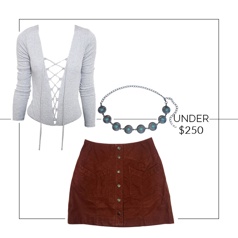 Outfit Under $250, Concho Belt, Vagabond Lace Up Bodysuit, Free People Come A Little Closer Skirt