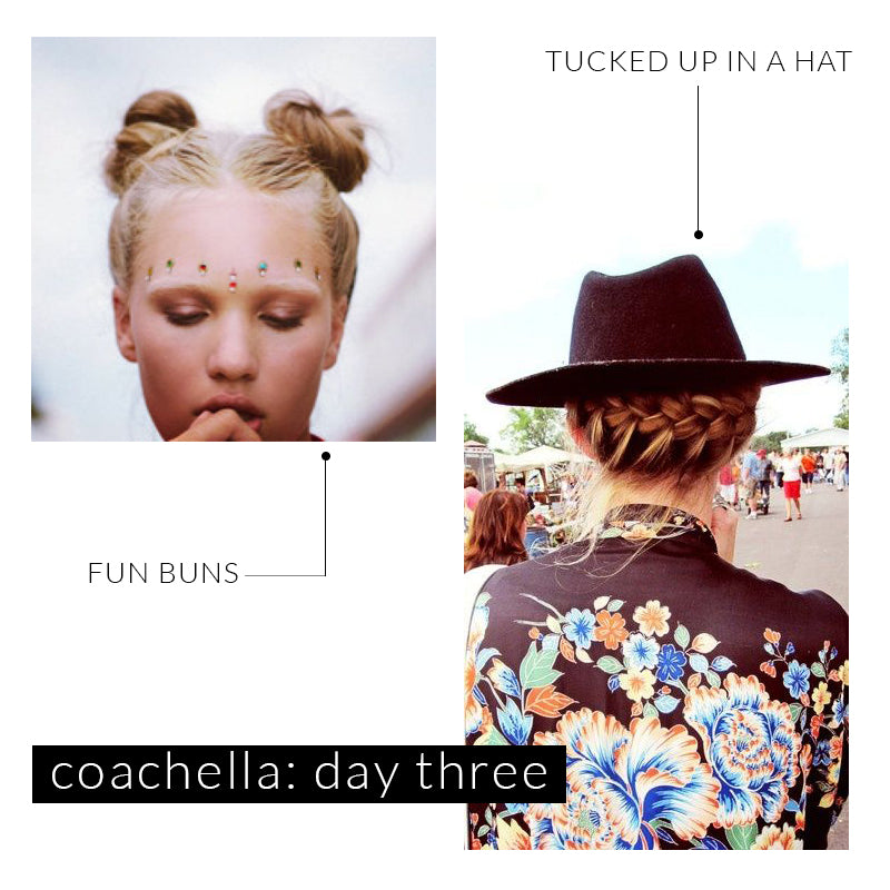 Coachella Hairstyles, Double Buns, Braided hair, Music Festival hats, festival fashion