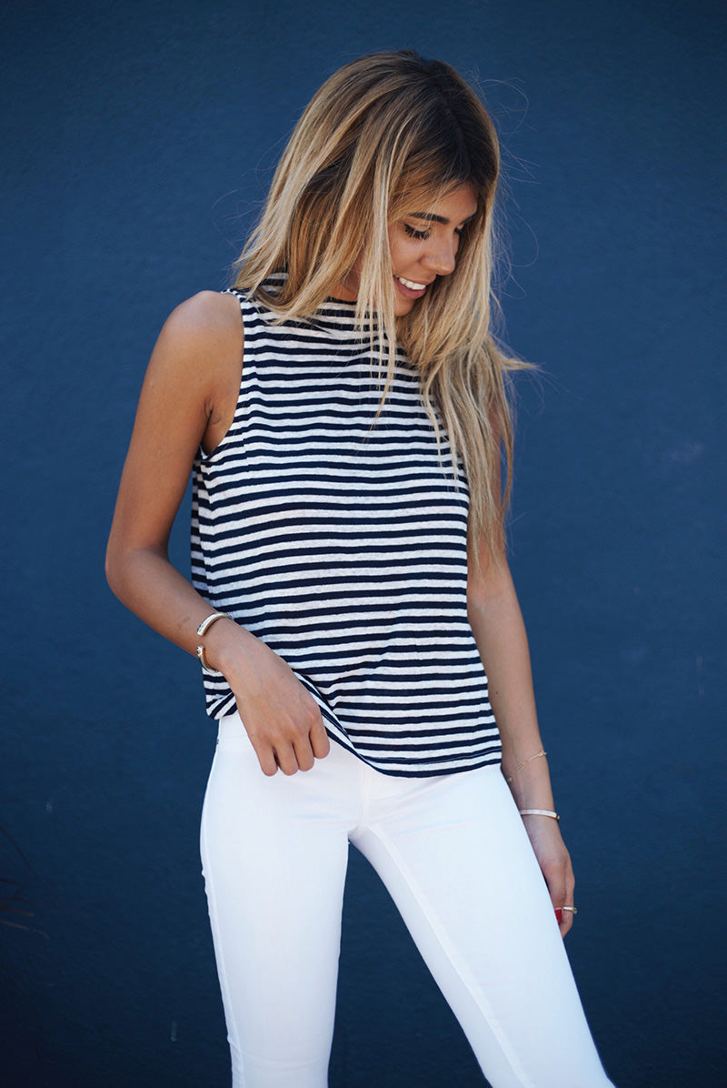 Minkpink Run Out High Neck Tank, Stripe Tank White Denim Outfit, 4th of July Outfit Idea