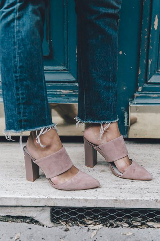 DIY Raw Denim Hem with Suede Mules
