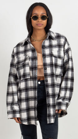 plaid oversized jacket black and white