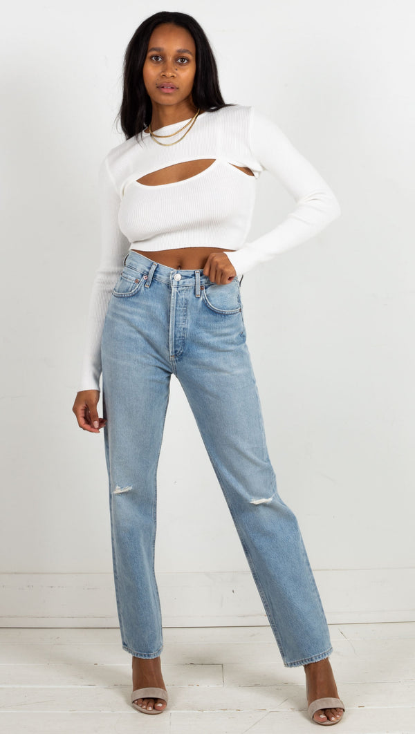 agolde high waisted straight fit light wash demin jeans