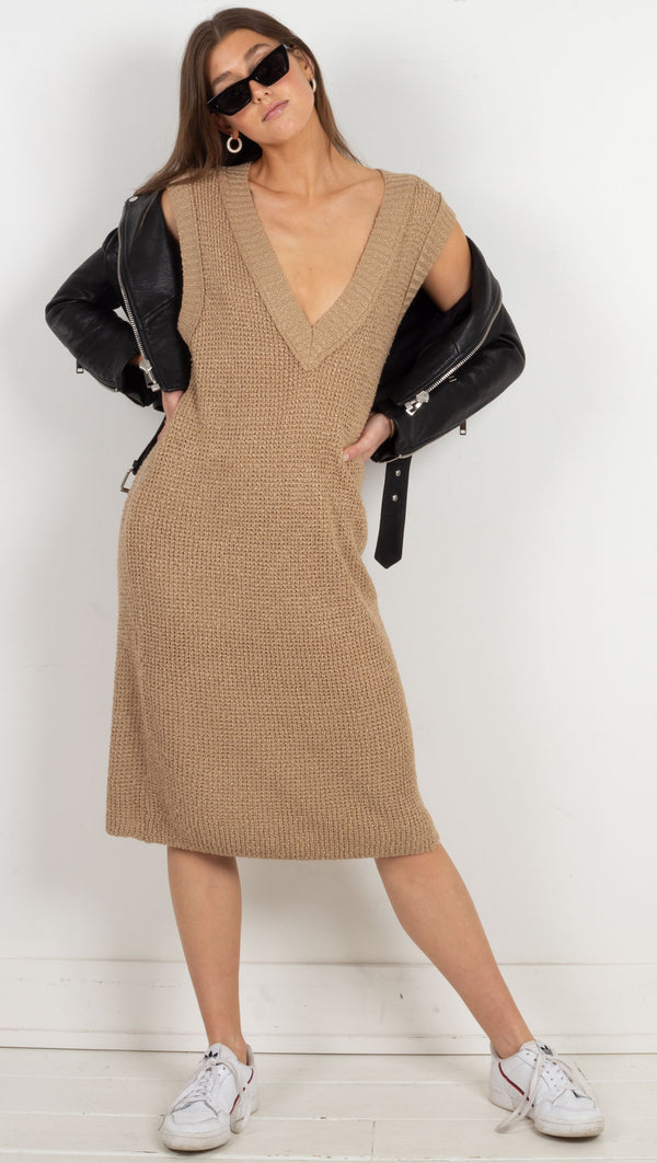 knit midi dress brown