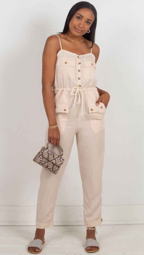 jumper with buttons down the front and waist tie cream