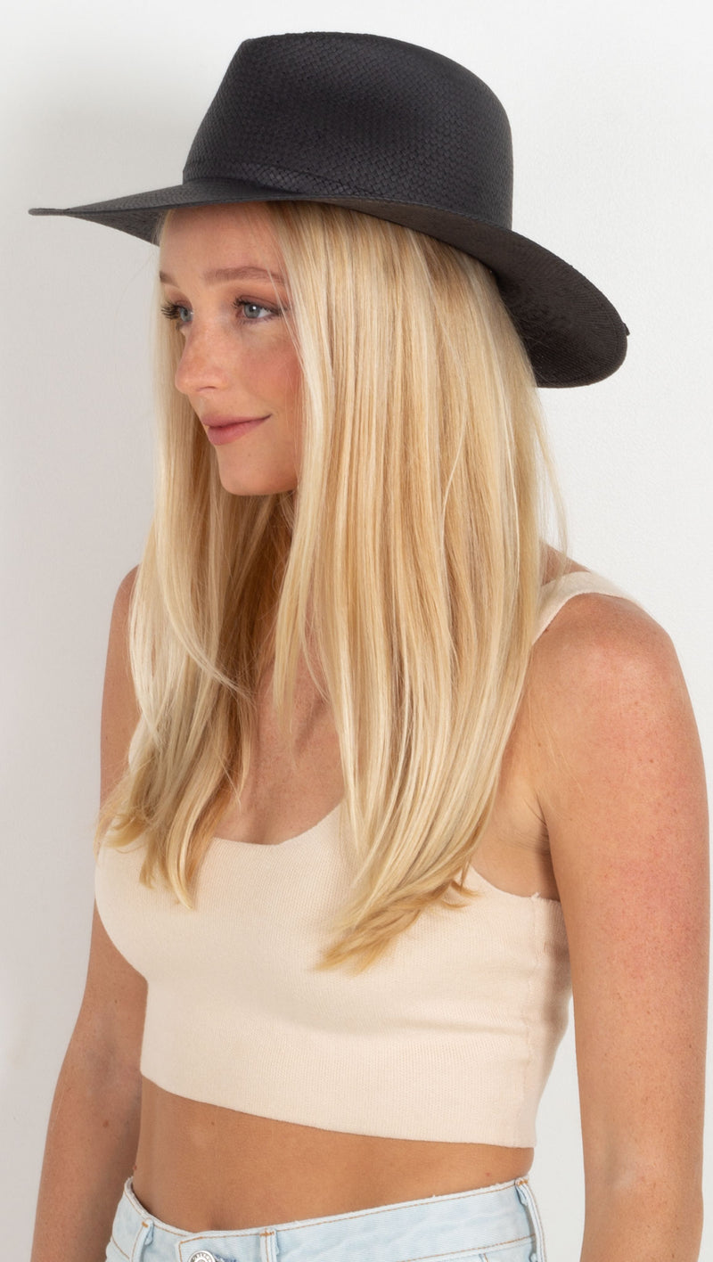straw rancher hat black