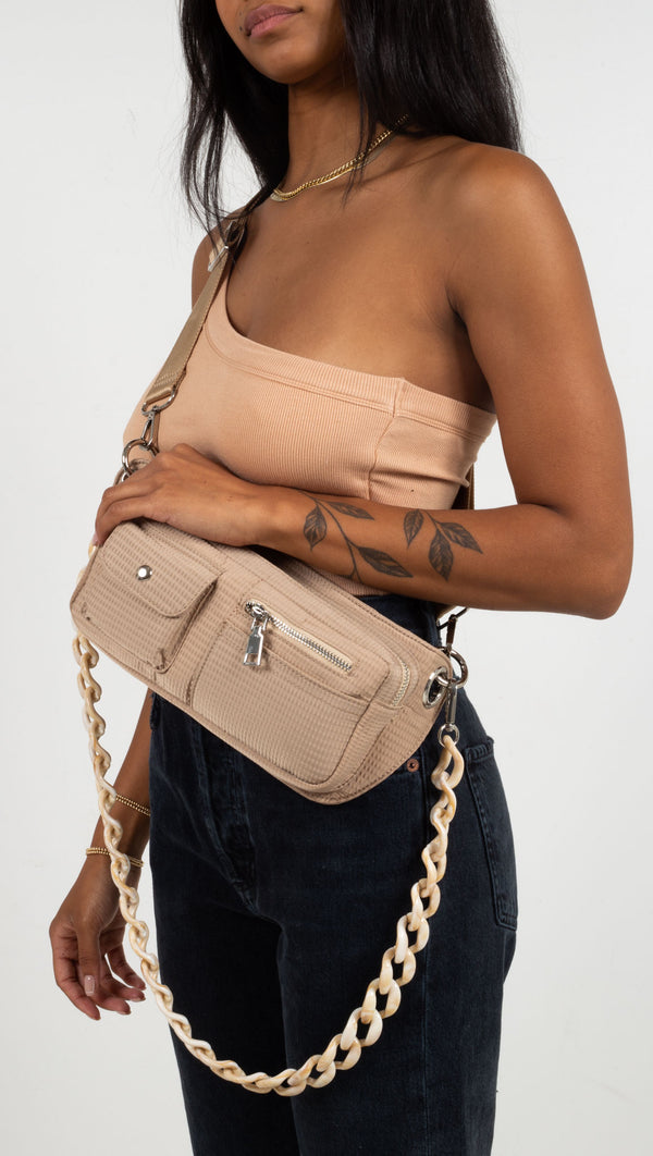 bag with two kind so straps beige