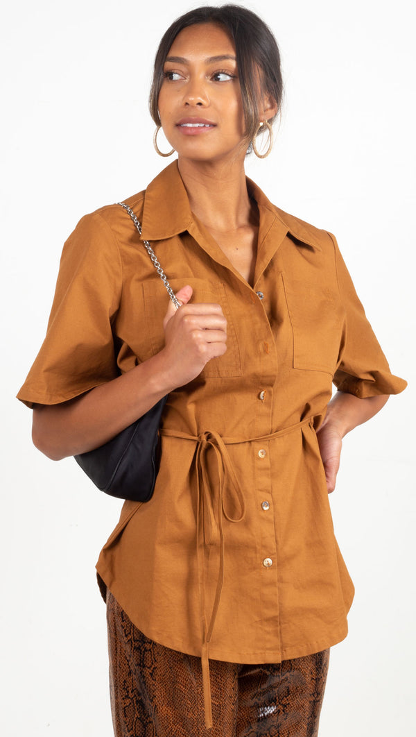 button down short sleeve collard shirt with an open back burnt orange