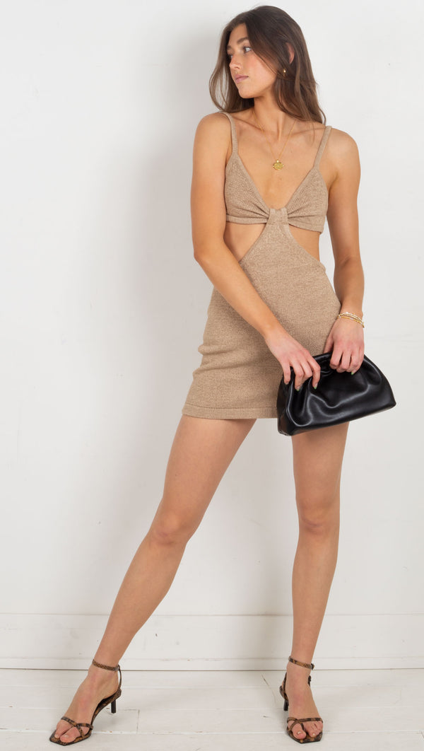 Capri Knit Cut Out Mini Dress - Taupe