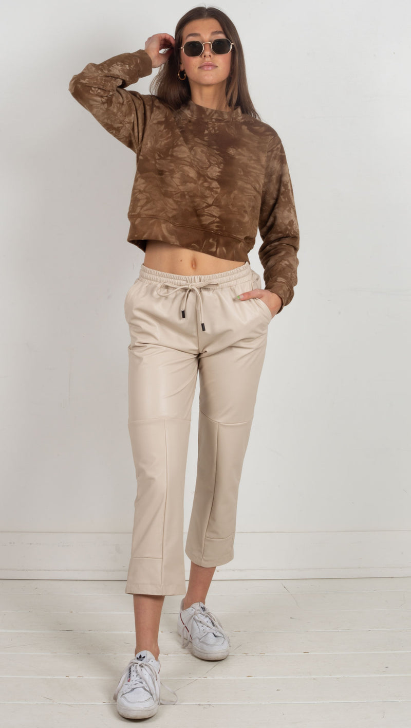 cropped crew neck tie dye brown
