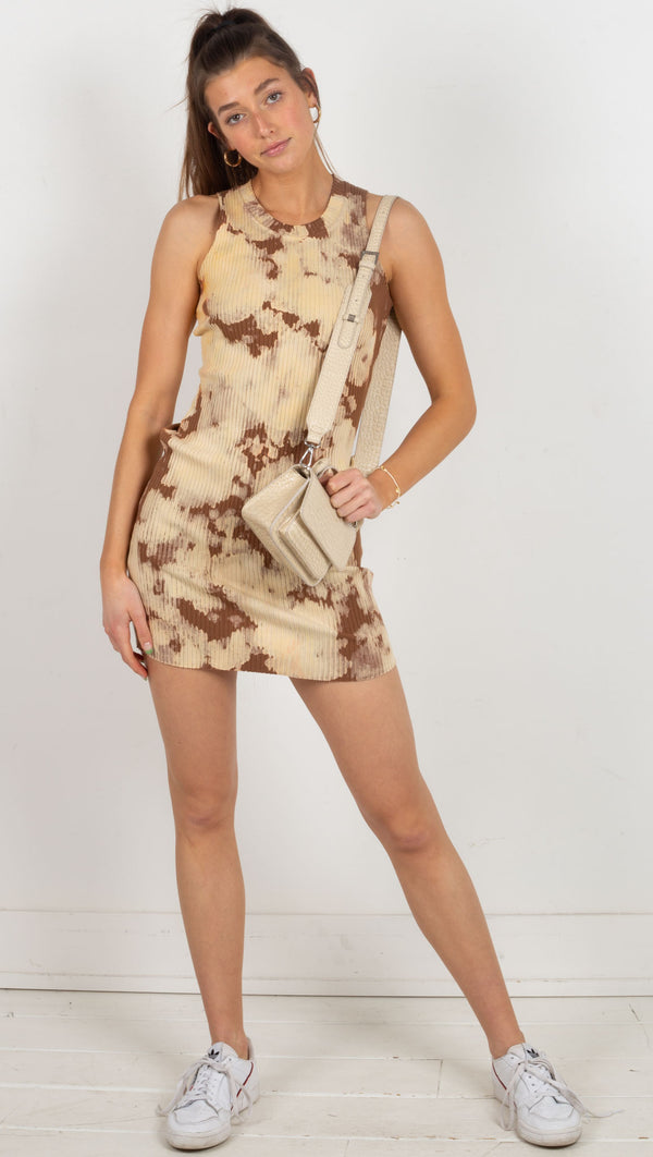ribbed tank tight tie dye dress cream and brown