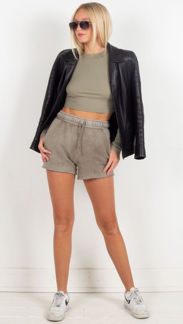 cut off shorts waistband and drawstring raw hem green