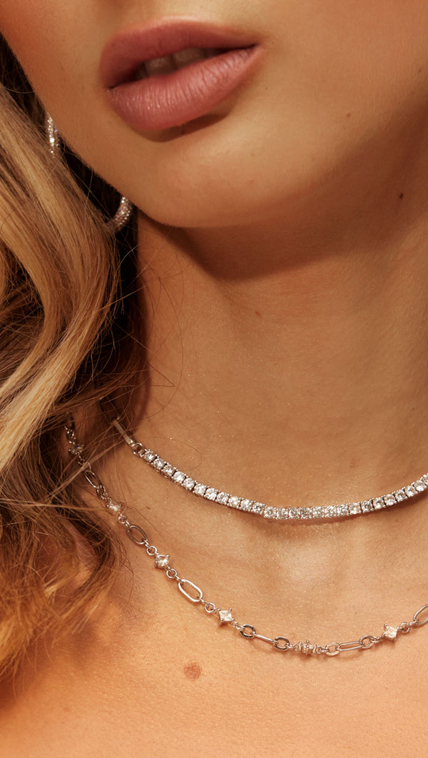 Dionne Link Necklace - Silver
