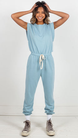 stpl jumpsuit with drawstrings blue