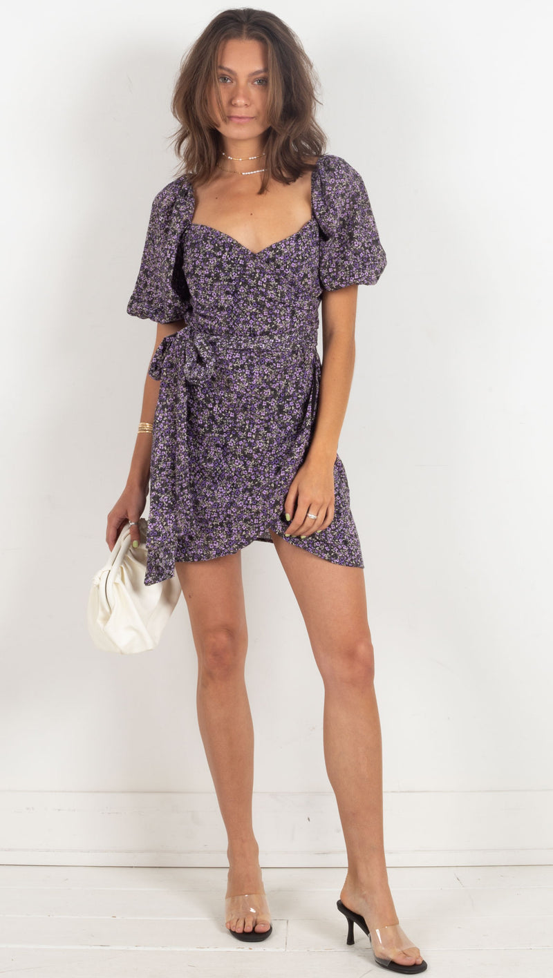 wrap puff sleeve mini floral dress purple