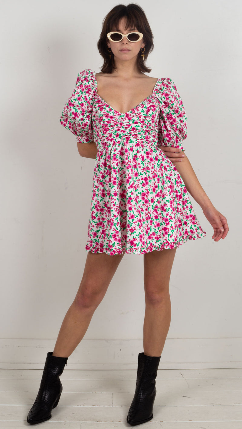 floral dress puffy shoulder mini pink and white