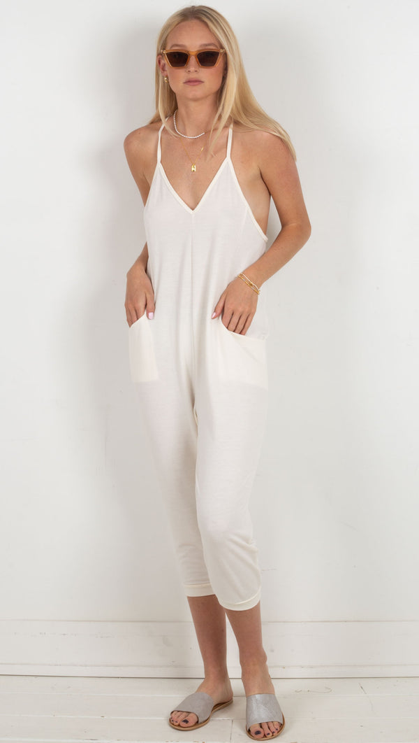 deep v tank jumpsuit with pockets white