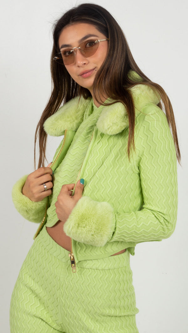 zip up sweater wavey material fur around the wrist and collar green