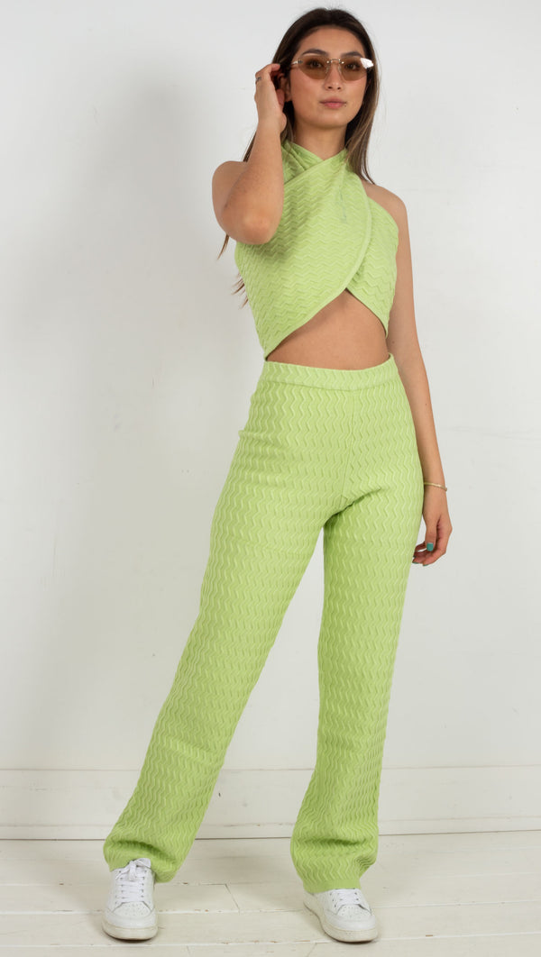 wavey material high waisted stretchy pant green
