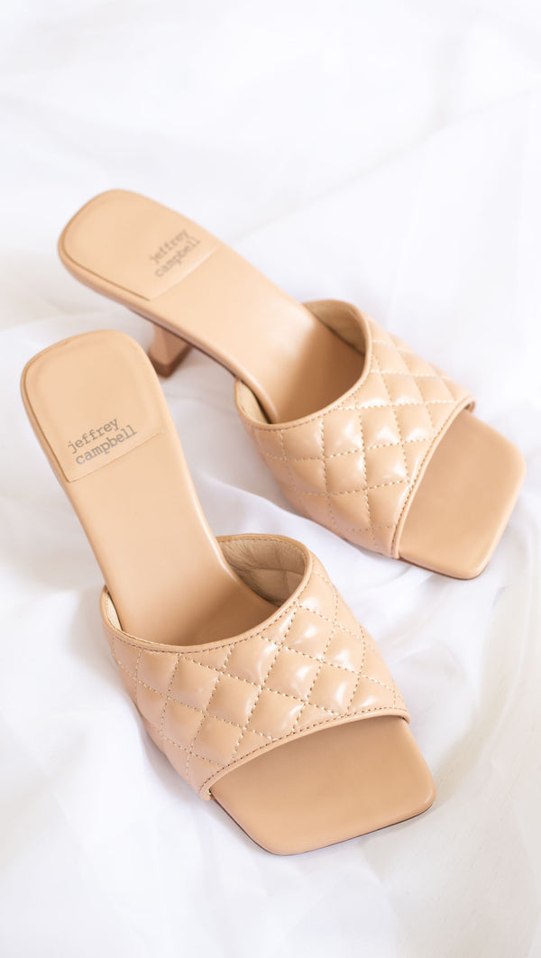 quilted square toe mule heel cream
