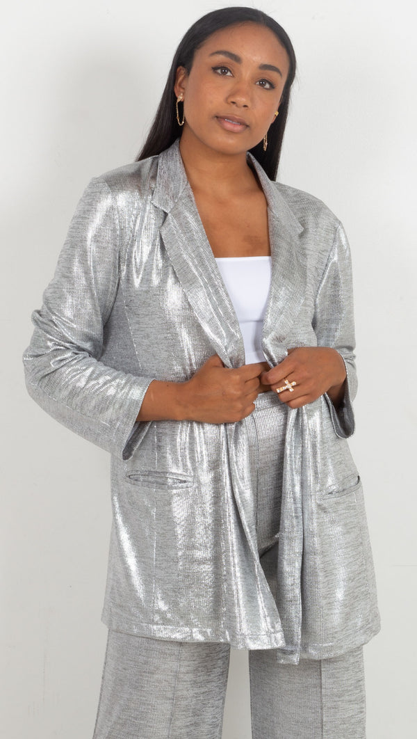 soft blazer deep pocket in the front shiny silver