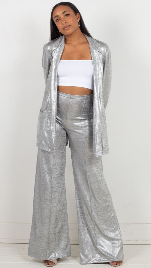 wide leg loose fitting high waisted pants shiny soft silver