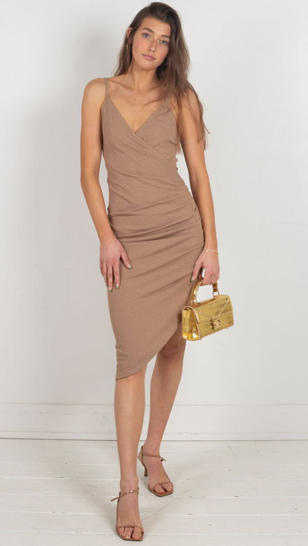 mini ribbed midi dress brown