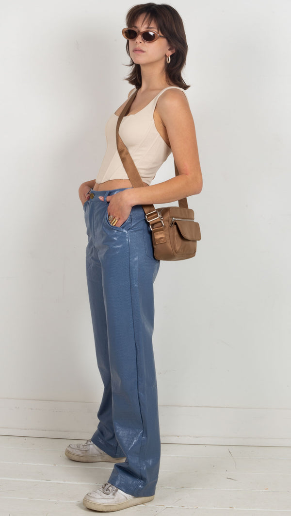 leather snake print oversized high rise pants blue
