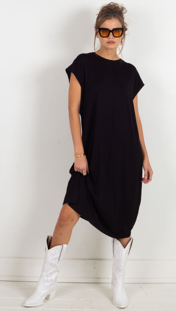 t shirt dress loose fitting midi black