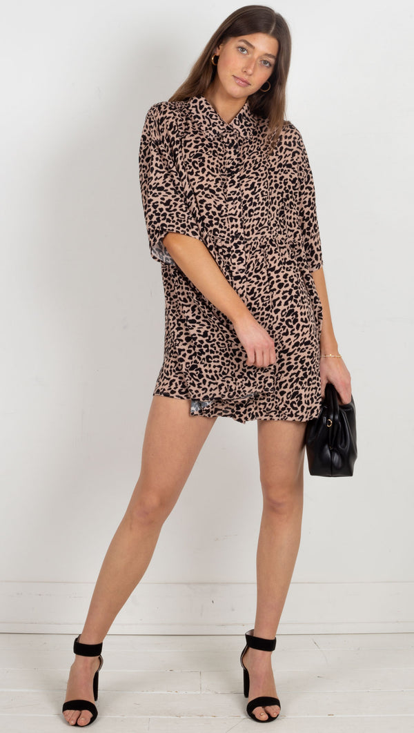 short collard button down dress leopard
