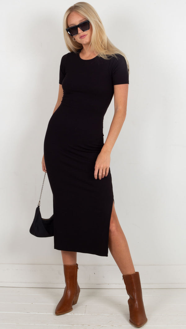 midi tee shirt dress cut out open back black