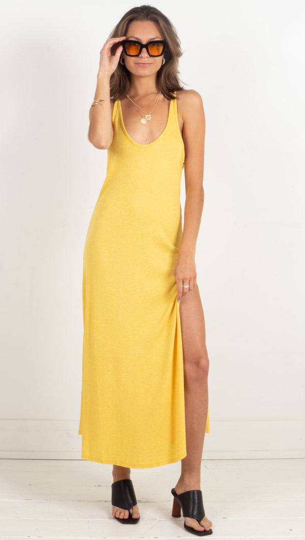 maxi deep scoop neck side slit loose dress yellow