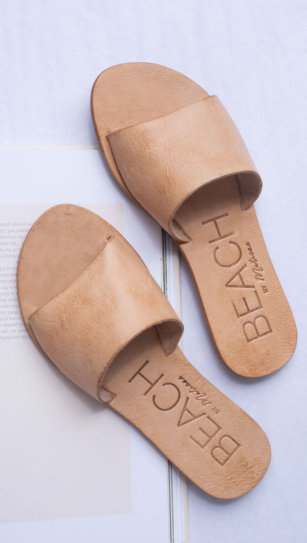 all tan leather slip on slide sandals