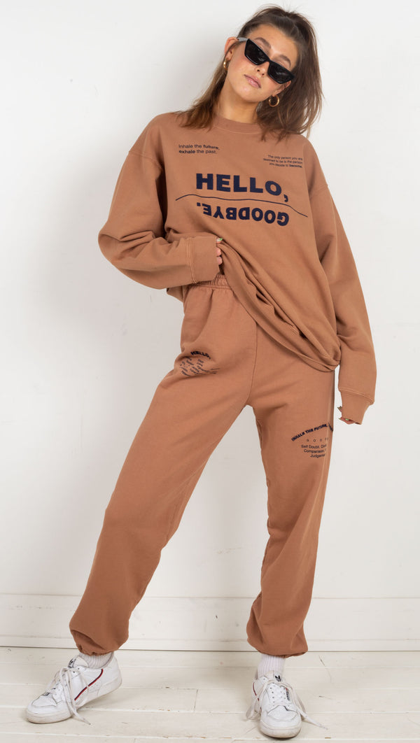 Hello Goodbye Crewneck - Camel