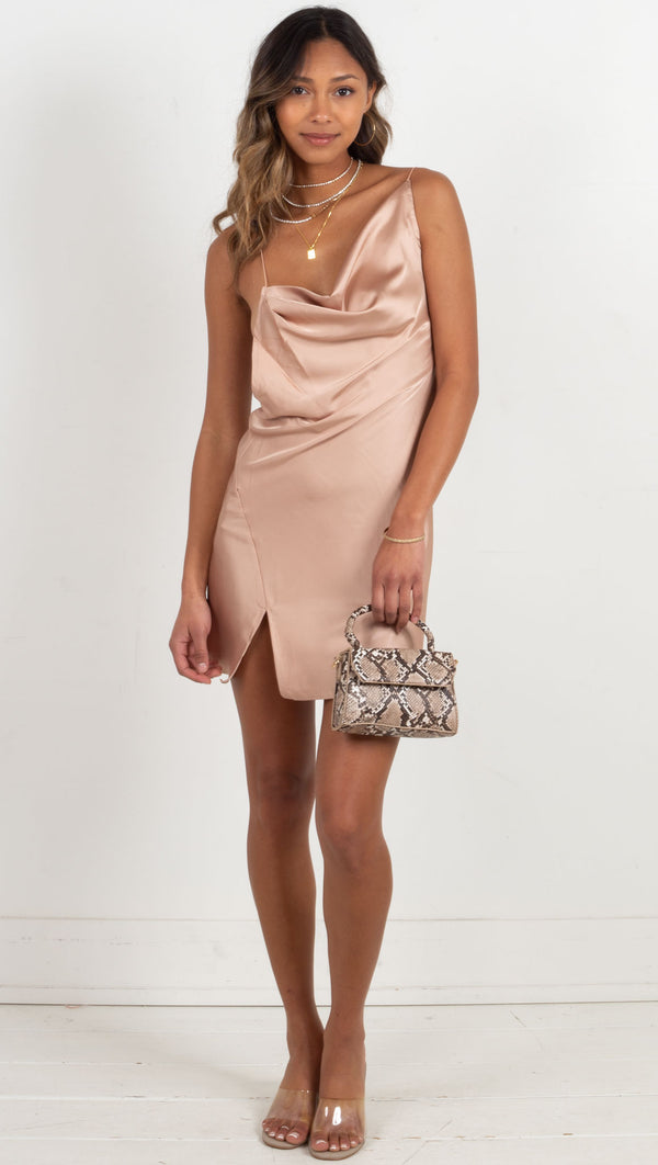 satin droop neck skinny strap mini dress tan