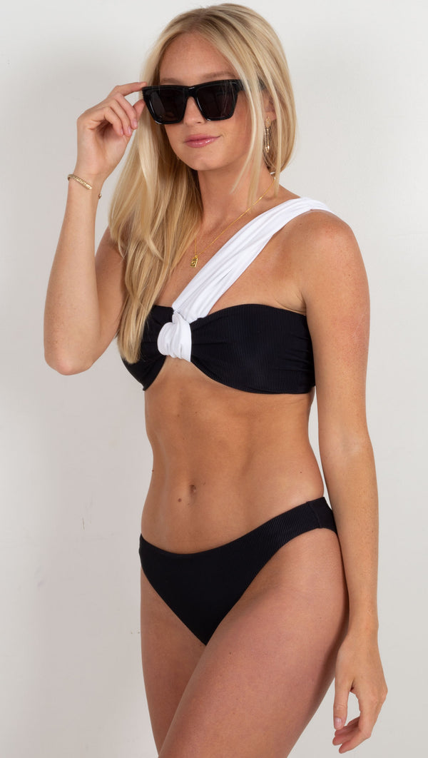 black and white bandeau style one shoulder bikini top