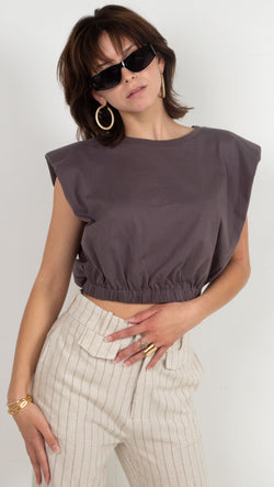 padded shoulder sinched waist shirt grey