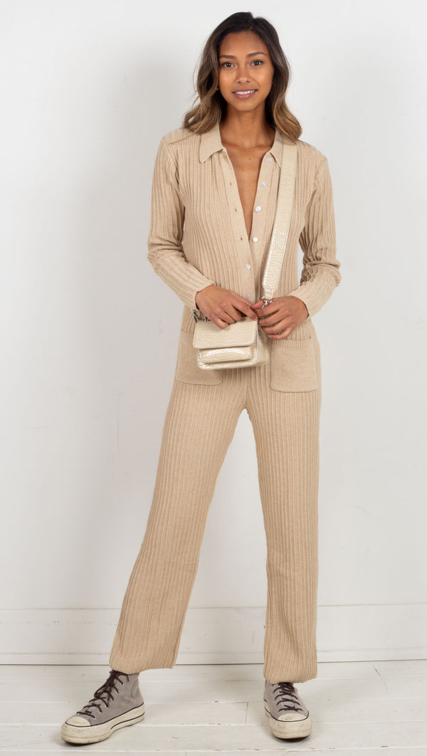 jumpsuit wide ribbed cream