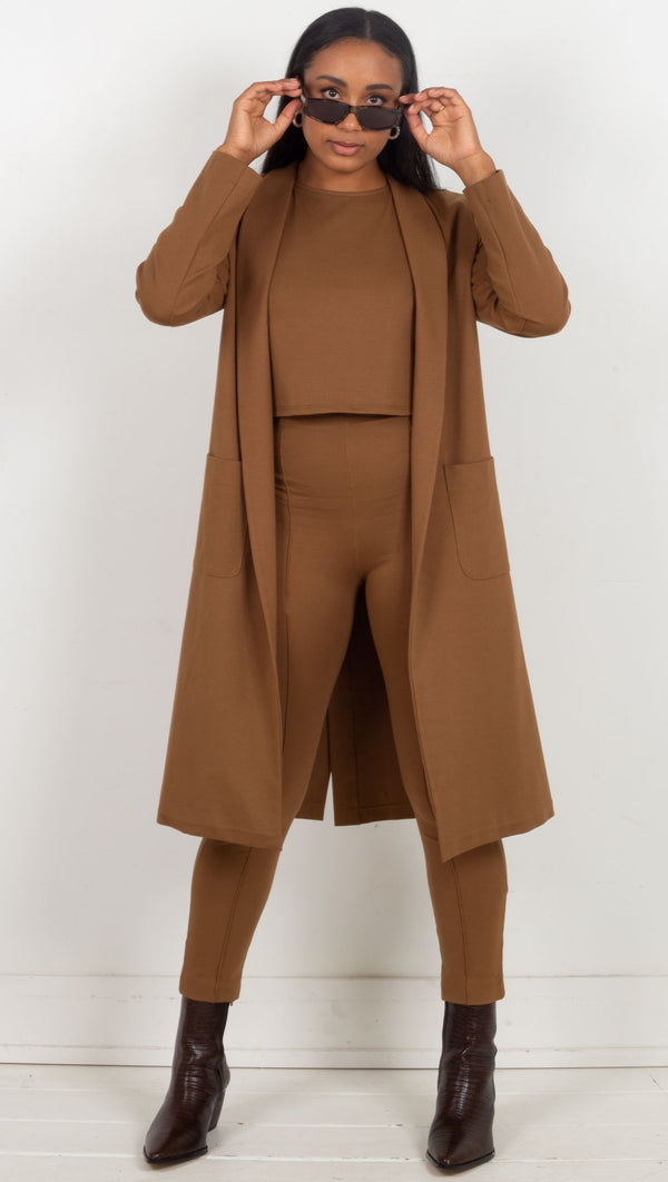 Ponte Knit Smoking Jacket - Camel