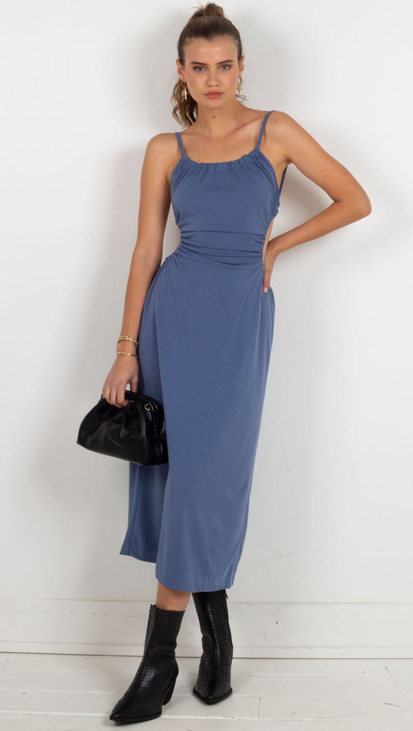 midi dress pull through ties tie in the back blue