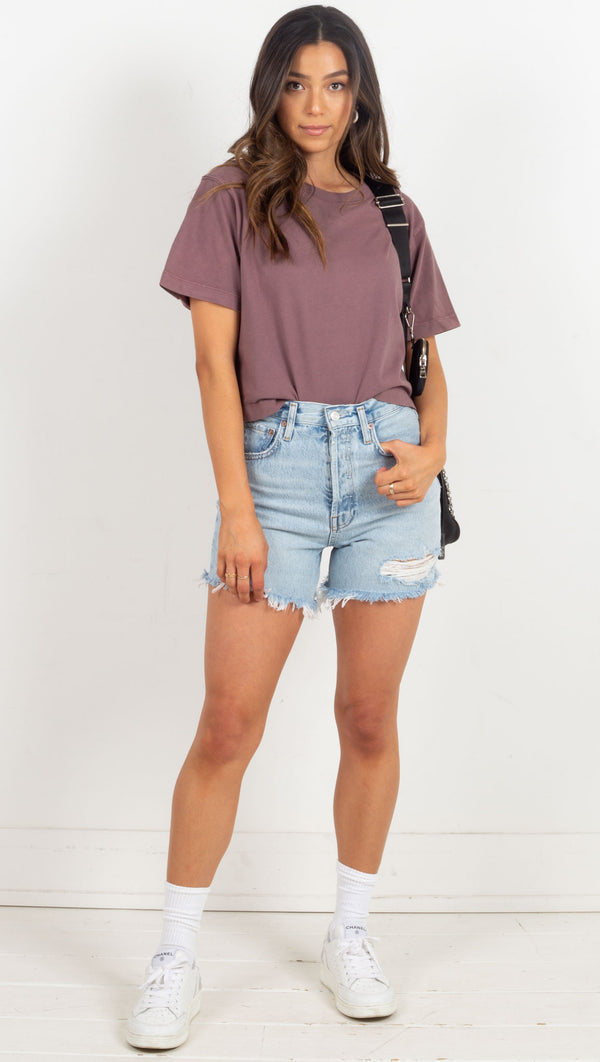 Relaxed Crop Tee - Plum Smoke