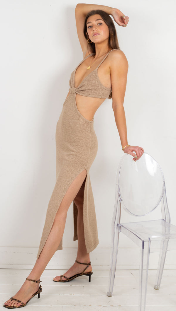 knit cut out maxi dress tan