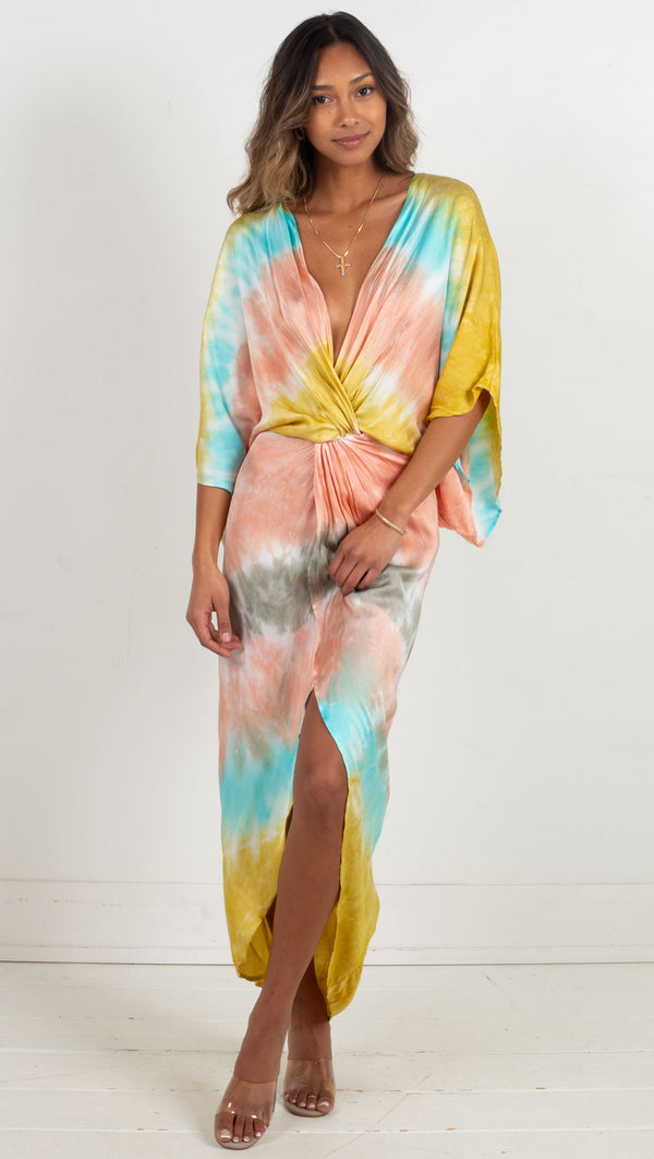 deep v colorful twist in front slit in leg maxi dress