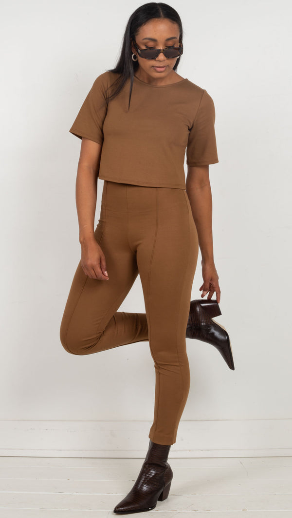high waisted slim fitting seams down the front brown