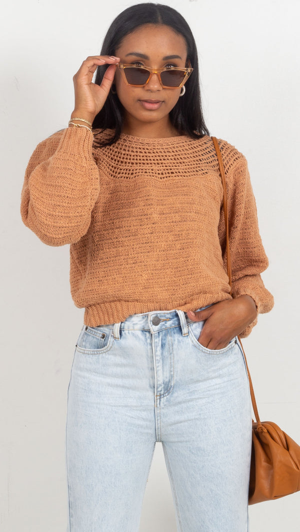 Stevie Long Sleeve Knit Sweater - Clay