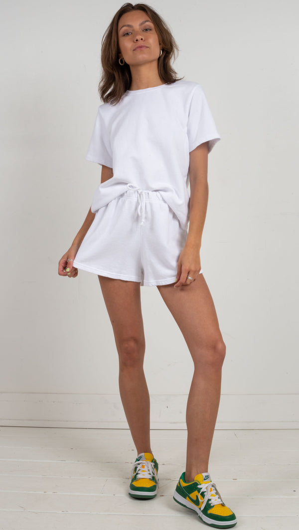 Charli Short Sleeve Sweatshirt - White