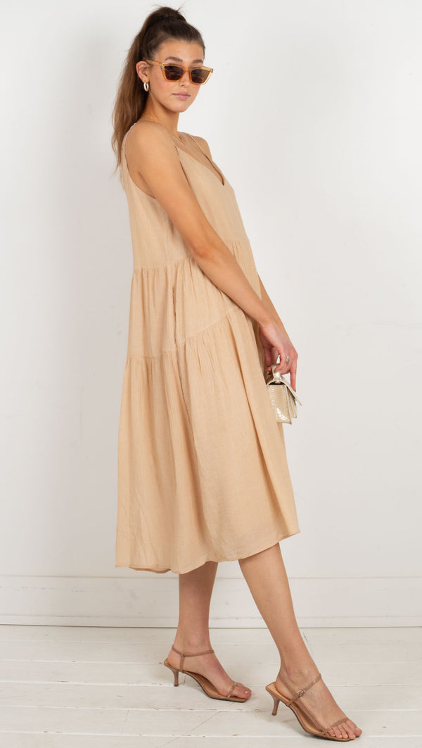 midi dress flowy cream